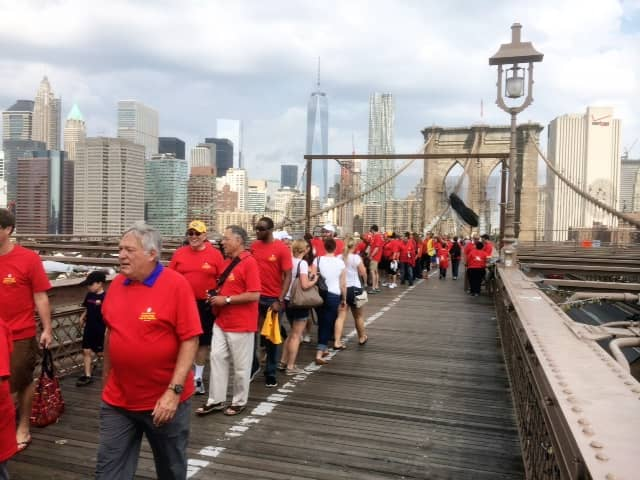 Members of the Northeast Westchester Rotary of Somers/Katonah joined Rotary District 7230 members in the march across the Brooklyn Bridge.