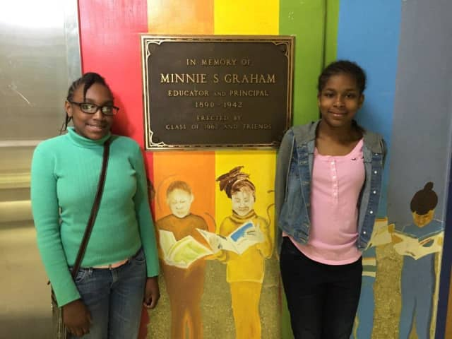 Graham Middle School seventh graders Edwina Belizaire and Shayanne Escoffery-Fullwood.