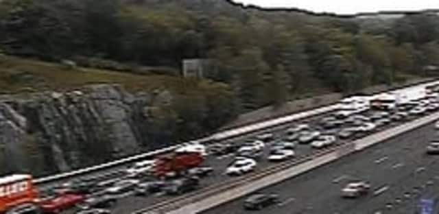 A look at heavy delays on I-87 in Westchester near the Tappan Zee Bridge on Wednesday morning.
