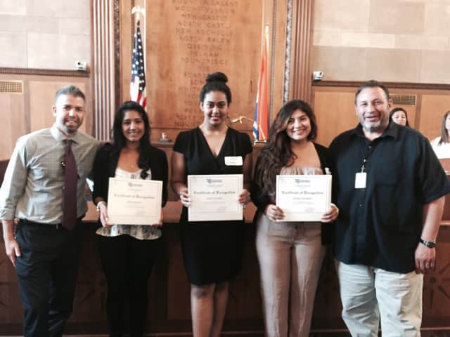 Jandon Scholarship winners Maria Angelica Garcia, Alisa Choubay and Reyna Chavarria pictured with White Plains High School guidance counselors Jeffrey Hirsch, left, and Enrique Cafaro, right.
