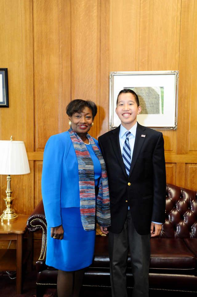 New Rochelle resident Jake Gallin with  state Sen. Andrea Stewart-Cousins.