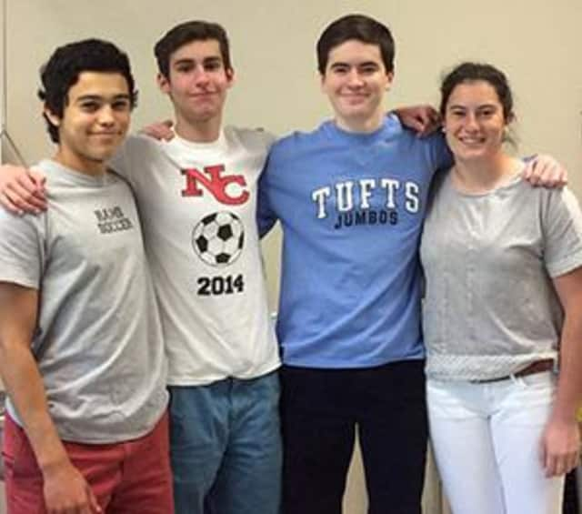 From left, Charlie Pitteway, Robbie Fusek, Chris Reik and Claire Conley were part of a team of New Canaan High School students that recently won first place in a regional physics bowl.