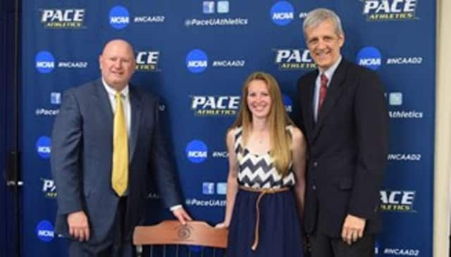 Pace senior Jillian Ferro accepts her award for Female Athlete of the Year in recognition of her outstanding soccer achievements.