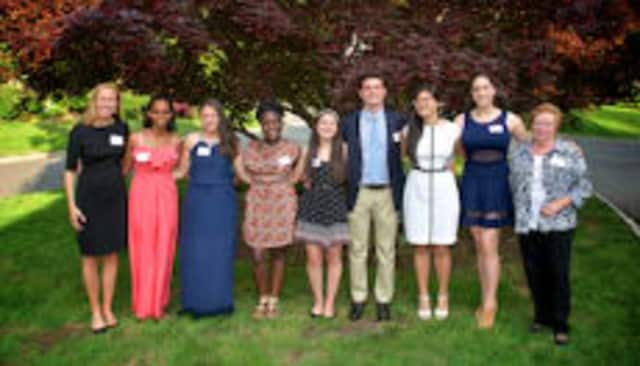 The Community Fund of Bronxville, Eastchester and Tuckahoe honored nine students. From left, Katharine Outcalt, Natzinet Ghebrenegus, Nicole Nasti, Morgan Slocombe, Lisa Iwagami, Brendan Patrick Carty, Sally Kwok, Ariana Sher and Eileen Frey.
