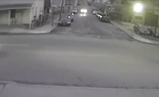 A screenshot of one of the videos posted by Peekskill Police, with the individual on the left identified as a suspect, police said.