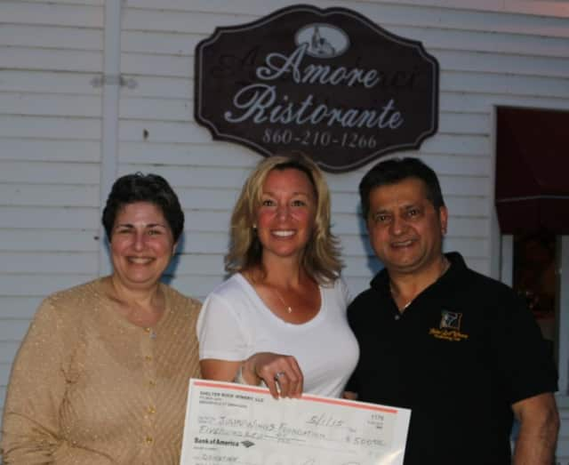 Shelter Rock Winery hosted a fundraiser on April 25 to benefit Julia's Wings Foundation in Danbury. From left, Kathrine Gold-Gubner, Julia's Wings board member, Heather Malsin, Vice President Julia's Wings, and Giovanni Petretta, Shelter Rock owner.