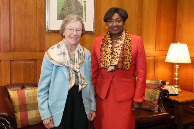 Edith Flanigen, left, was honored by State Sen. Andrea Stewart-Cousins and others Wednesday.