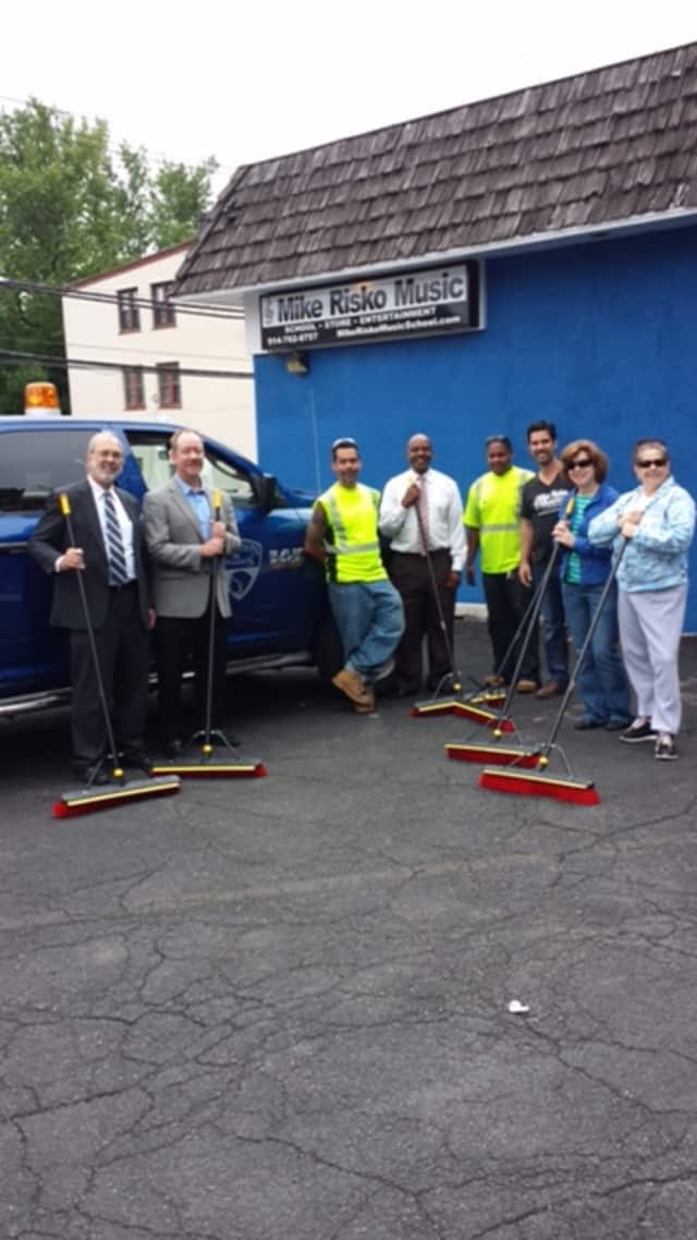 Residents helped clean up Croton Avenue on Ossining's Uptown Cleanup Day.