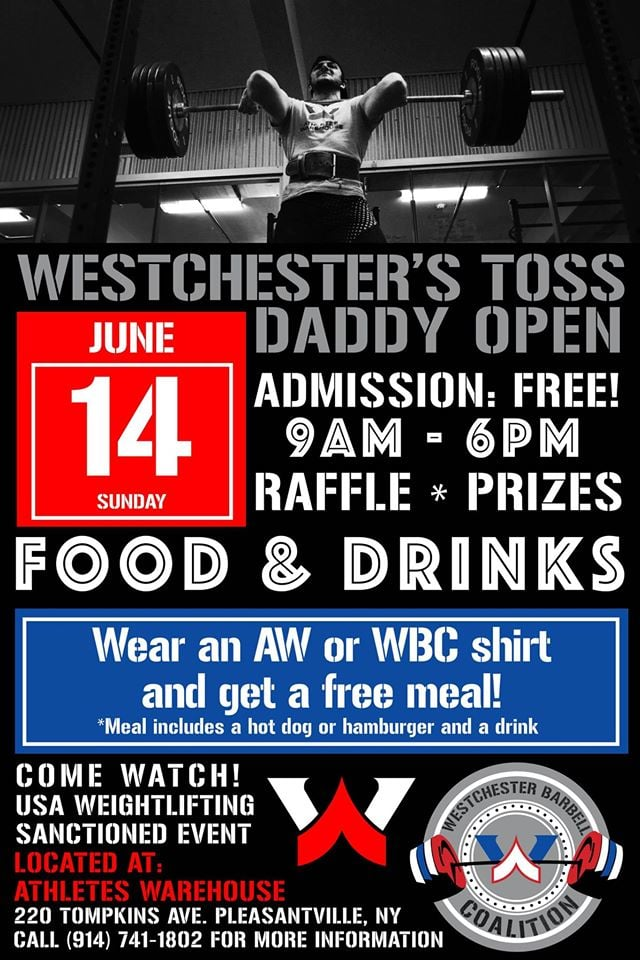 Athletes Warehouse is having an Olympic weightlifting meet Sunday.