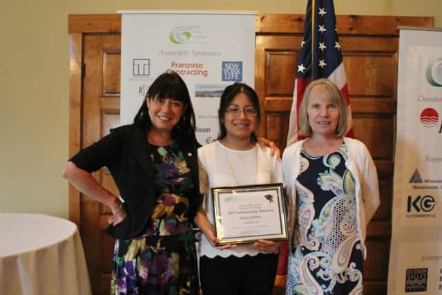 From left, Hudson Valley Gateway Chamber of Commerce Executive Director Deb Milone, Peekskill High School senior and scholarship recipient Diana Barreto, and Linda Murphy, chairwoman of the Chamber's board of directors.