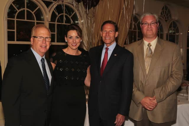 Left to right at the gala are Danbury Mayor Mark Boughton, Hospice CEO Cynthia E. Roy, Senator Richard D. Blumenthal and Executive Director of the Regional Hospice Foundation Paul Sirois.