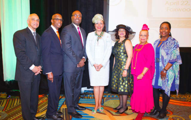 (L-R) Noel Hord; the Honorable Maurice Mosley; James Michel; Dianne S. Hardison, The Links, Inc., Virginia; Glenda Newell-Harris, The Links, Inc., California; Dollie McLean; and Valerie Cooper, of Stamford.