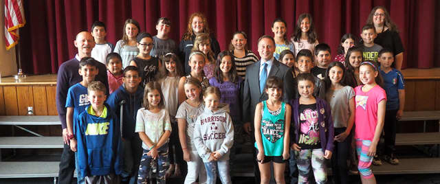 Preston Elementary students pose with County Executive Rob Astorino after the meeting.
