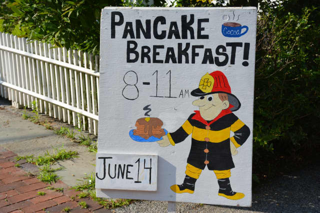Signage for the Bedford Fire Department's pancake breakfast, which will be held at the firehouse in Bedford Village.