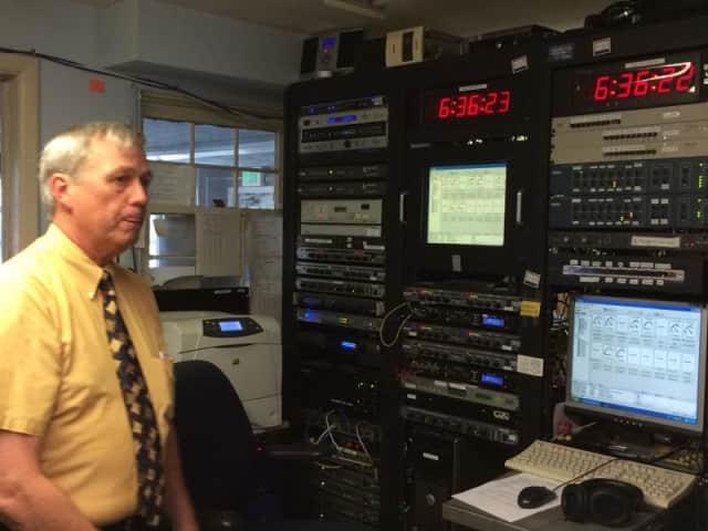 Station General Manager George Lombardi describing some the equipment used at WSHU in Fairfield.