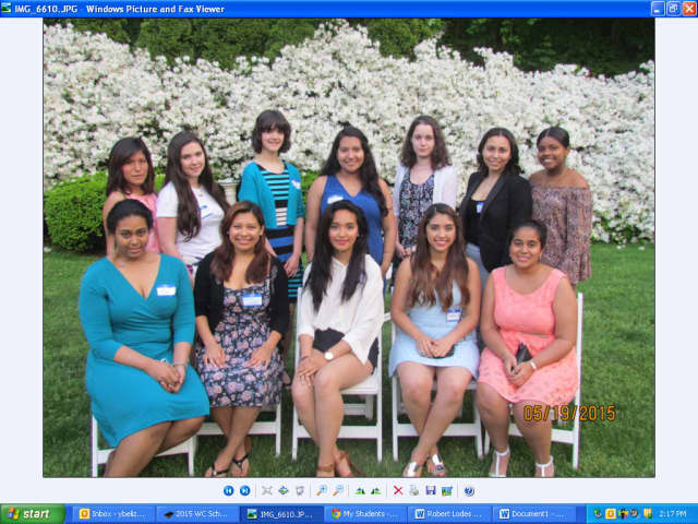 The 13 scholarship winners at the Woman's Club of White Plains annual spring dinner.