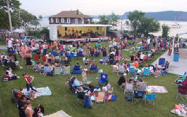 A crowd enjoys an earlier concert at Louis Engel Waterfront Park, the site of Ossining's summer concert series.
