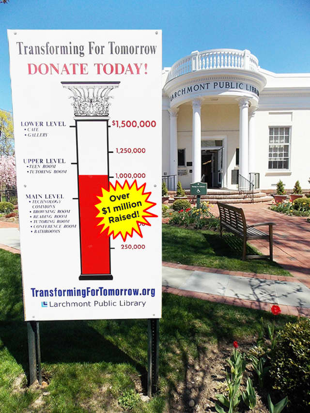 """The Larchmont Library's """"Transforming for Tomorrow"""" renovation project has raised more than $1 million toward its $1.5 million renovation campaign."""