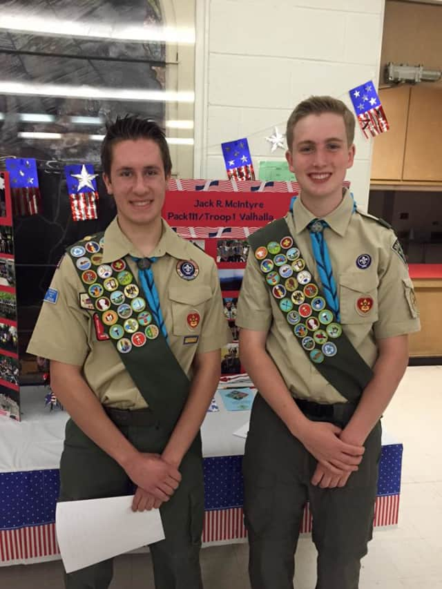 Valhalla Boy Scout Troop No. 1 recently honored Scott Fritsch and Jack McIntyre as Eagle Scouts.