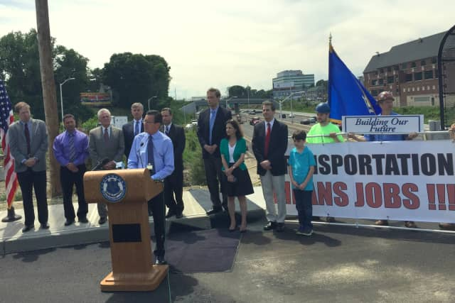 Gov. Dannel P. Malloy announces that the expansion of I-95 in Norwalk is nearing completion.