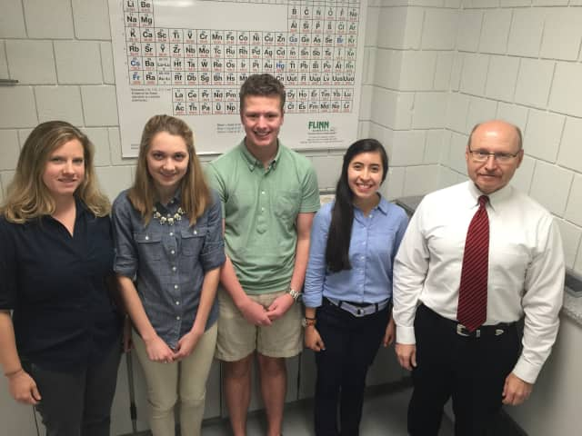 Jamie Cosgrove and Dan Cote, science faculty at Christian Heritage School, with three Christian Heritage students selected for summer research internships at Yale: Catherine Reid, Haddon Smith and Valeria Sarmiento.