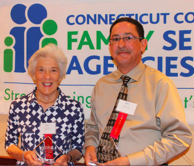 Family Centers' board member Helen Dixon and staff member Andre Campos have been named 'Family Champions' by the Connecticut Council of Family Service Agencies.