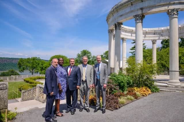 From left, Yonkers City Council Minority Leader Michael Sabatino; Yonkers Parks & Recreation Commissioner Yvette Hartsfield; Yonkers Mayor Mike Spano; Untermyer Gardens Conservancy Chairman Stephen F. Byrns; Scenic Hudson President Ned Sullivan.