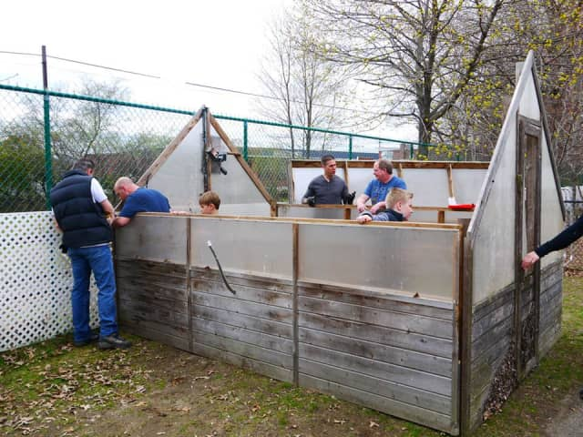 A greenhouse was erected this Spring on the grounds of Hudson Country Montessori School.