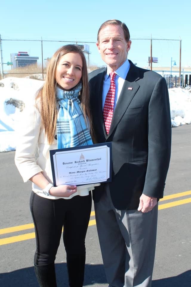 Greenwich teenager Alana Galloway recently was honored by U.S. Sen. Richard Blumenthal (D-Conn).