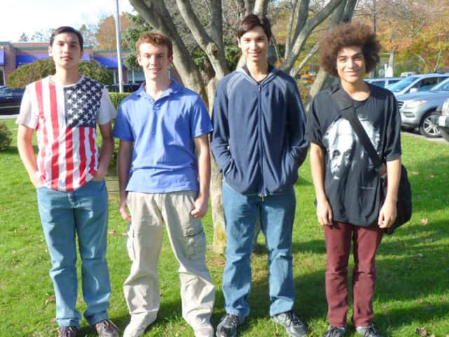 Pictured, from left, National Merit Scholarship semifinalists Eli Lee, Christian Davey, Alex Lee, and National Achievement Scholarship semifinalist Will King.