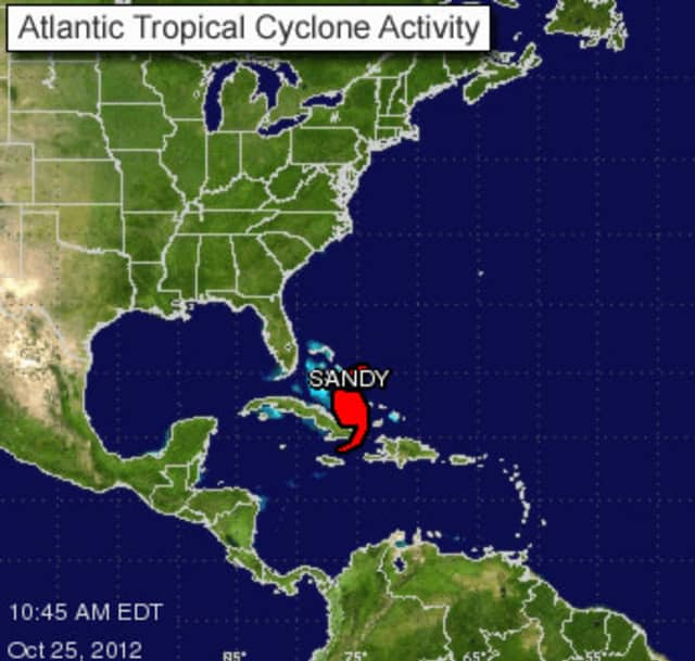 Hurricane Sandy is in the central Bahamas right now, but may be moving toward the Port Chester area by early next week.