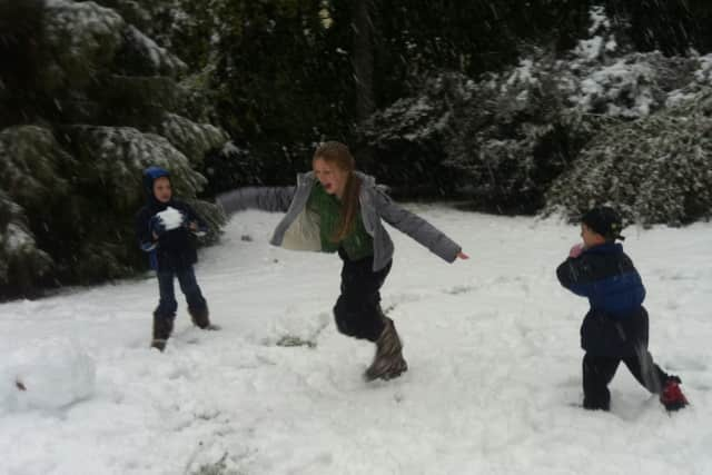 Children play in the snow after the early snowfall on Oct. 29, 2011.