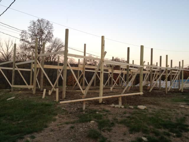 Construction has begun on the memorial barn at the Yorktown Grange Fairgrounds.