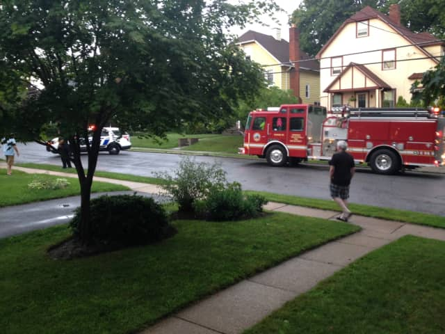Ossining Firefighters at Sherwood Avenue in Ossining following a power outage.