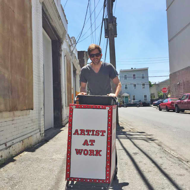 "Matt Smith brings his ""pushcart art-for-volunteerism project"" to the streets of Westchester."