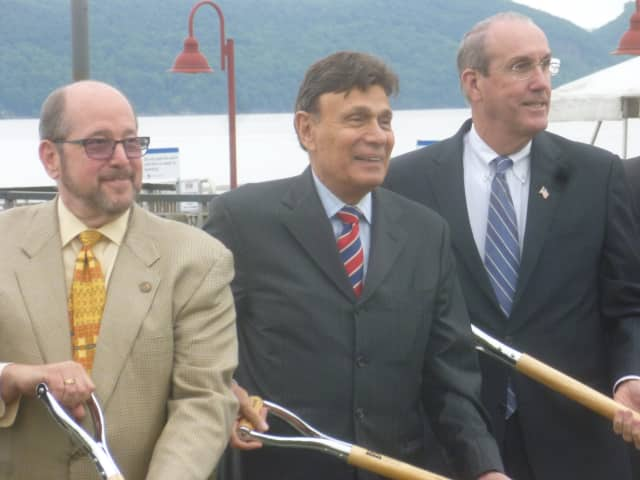 Developer Martin Ginsburg, center, takes part in the 2014 groundbreaking ceremony for Ossining's Harbor Square project. At left is former Ossining mayor, Bill Hanauer. At right is Deputy County Executive Kevin Plunkett.