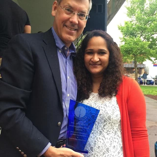 Award recipient Jim Luce from the James Jay Dudley Luce Foundation and Sattie I. Persaud Founder of the World Heritage Culture Center