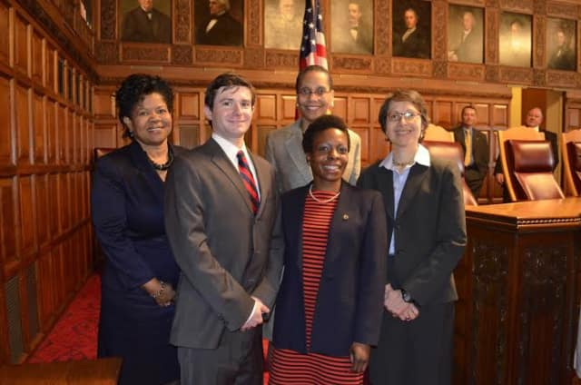 Westchester Community College student and White Plains resident Evan Eckfeld, second from left, the 2015 David A. Garfinkel Essay SUNY Community College award.