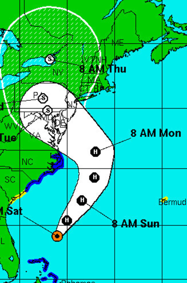 The National Weather Service predicts Hurricane Sandy will hit the East Coast Monday.