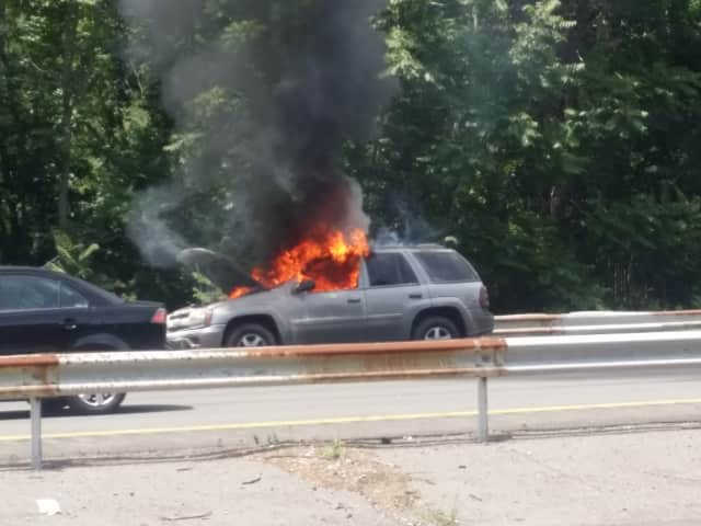 A look at the car fire that led to the closure of I-684.