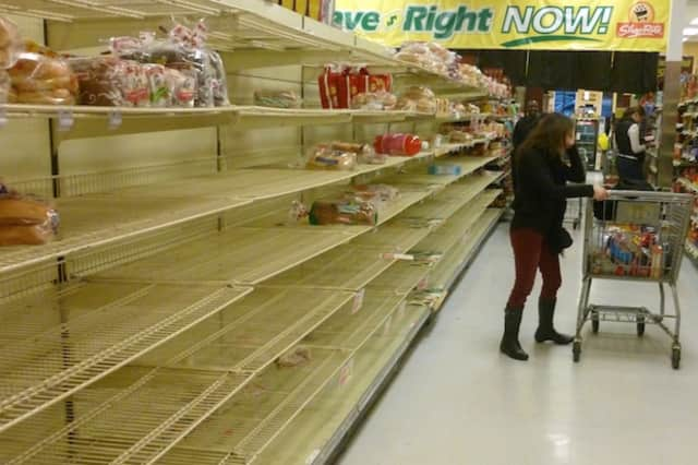 Lots of Shop Rite's shelves in Ossining were empty by Sunday evenings as shoppers cleaned out supplies to prepare for Hurricane Sandy.