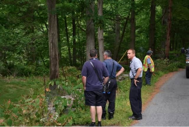 Emergency responders at Blue Heron Lake in Pound Ridge on Thursday afternoon.