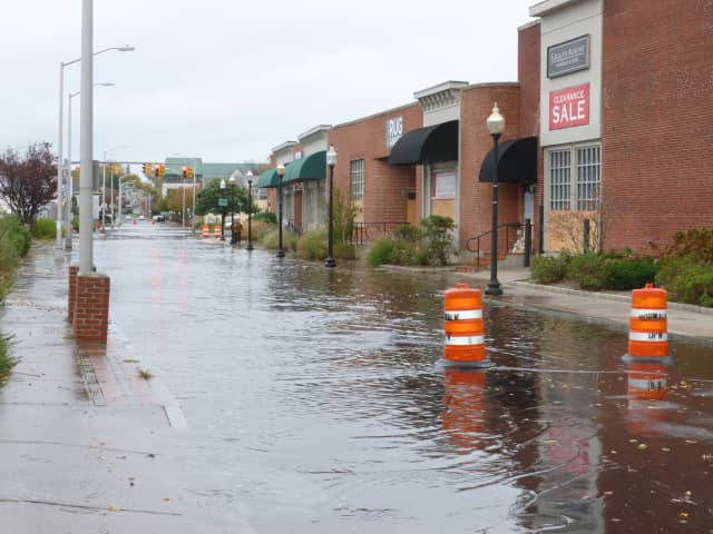 Water Street in South Norwalk was flooded as Hurricane Sandy approached in 2012. Hermine is not expected to bring such problems, but officials still are warning residents to be prepared.