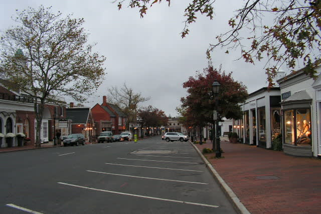 The scene on Elm Street on Monday morning as New Canaan gets ready for Hurricane Sandy.