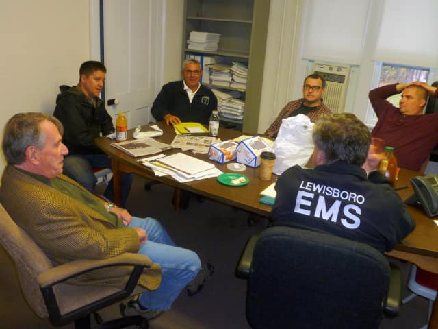 Lewisboro's emergency management team meets at the Town House, from left, Supervisor Peter Parsons, School Superintendent Paul Kreutzer, Police Chief Frank Secret, John Conti of the Vista Fire Dept., and Mike Wetzel of the South Salem Fire Dept.