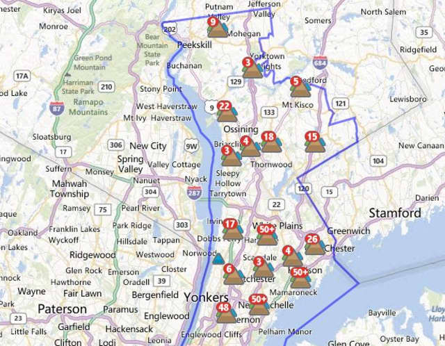 More than 4,000 residents in the Rivertowns lost power Monday night due to Hurricane Sandy.