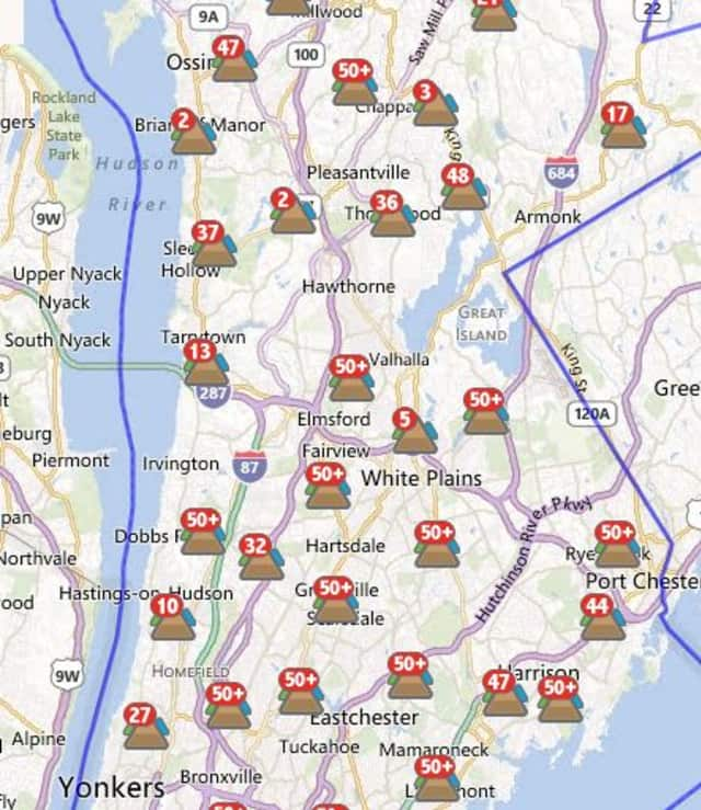 Nearly 500 customers in Pleasantville were without power Monday night due to Hurricane Sandy.