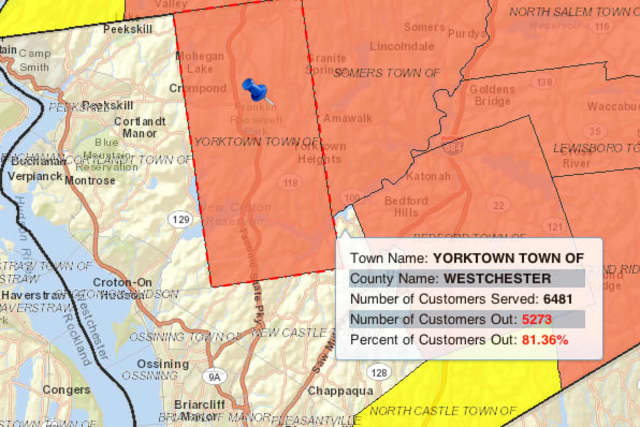 Much of Yorktown was without power Monday evening, according to NYSEG.