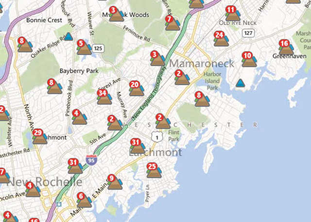 Much of Mamaroneck was without power Monday evening, according to ConEd.