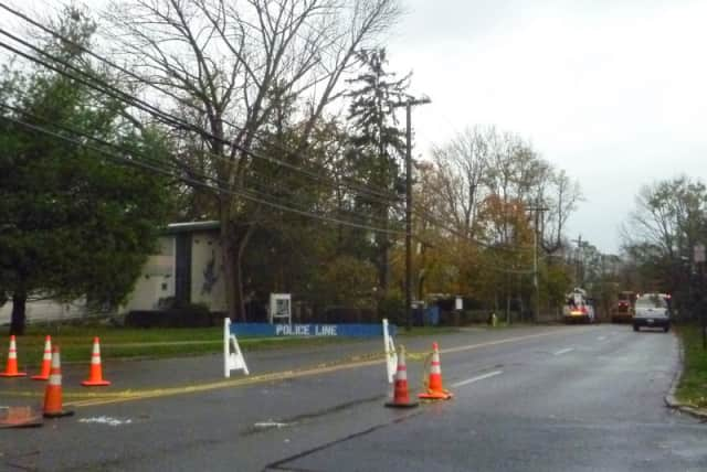 Route 9 in Dobbs Ferry was closed Tuesday morning because of a downed tree and wires.